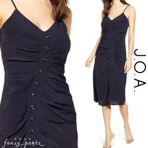 NWT J.O.A  Ruched Midi Slip Dress Button Front XS